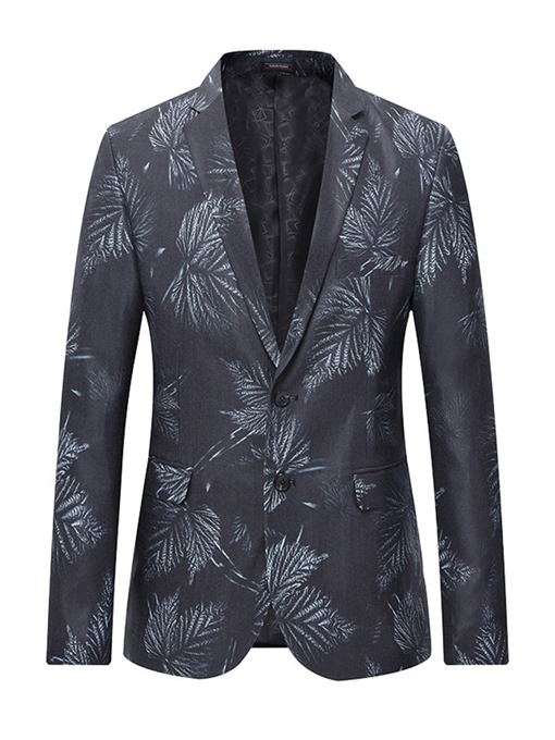 Ericdress Notched Lapel Print Slim Mens Blazer