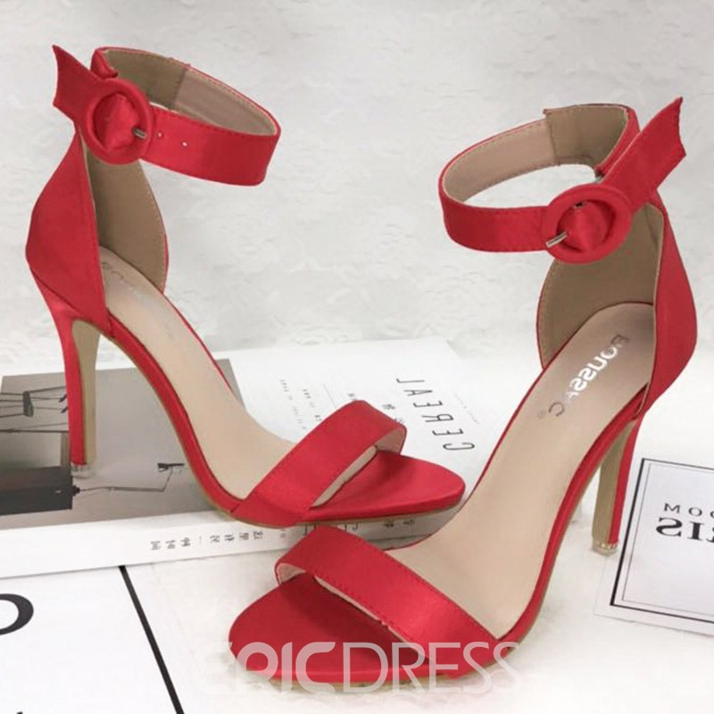 Ericdress Silk Fabric Buckle Stiletto Heel Heel Women's Sandals