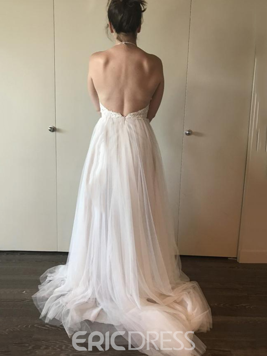 Ericdresss Lace Halter Backless Beach Wedding Dress