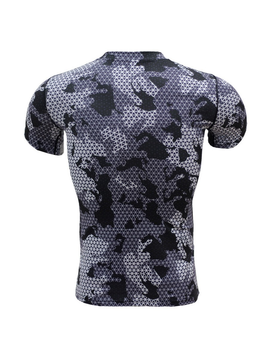 Ericdress Men Print Quick Dry Short Sleeve Sports Tops