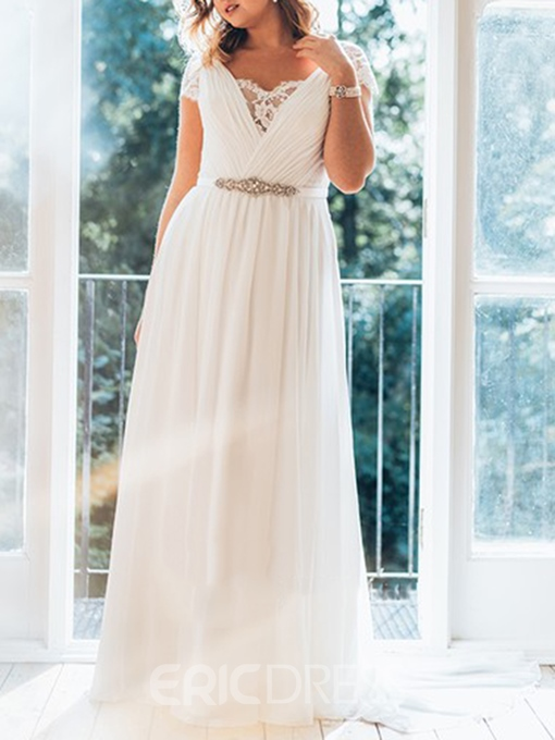 Ericdress Cap Sleeves Chiffon Plus Size Wedding Dress