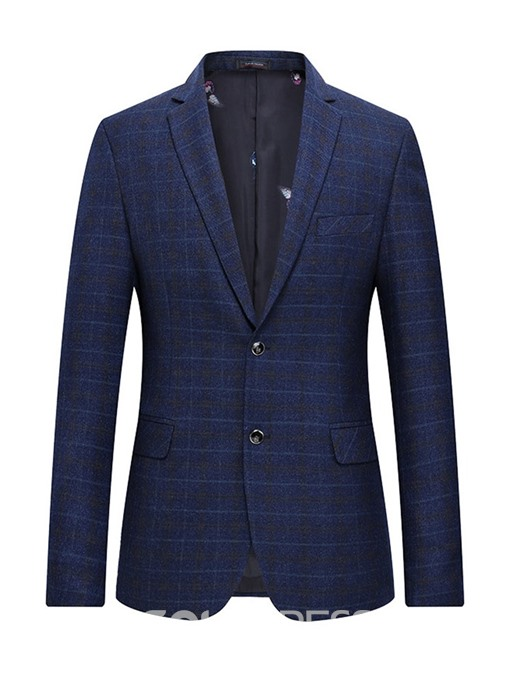 Ericdress Plaid Two Button Notched Lapel Mens Blazer