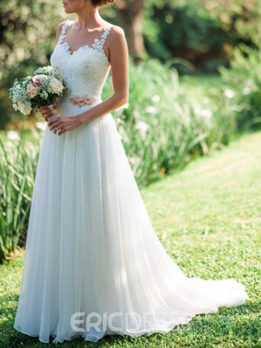 Ericdress Straps Appliques Flowers Beach Wedding Dress