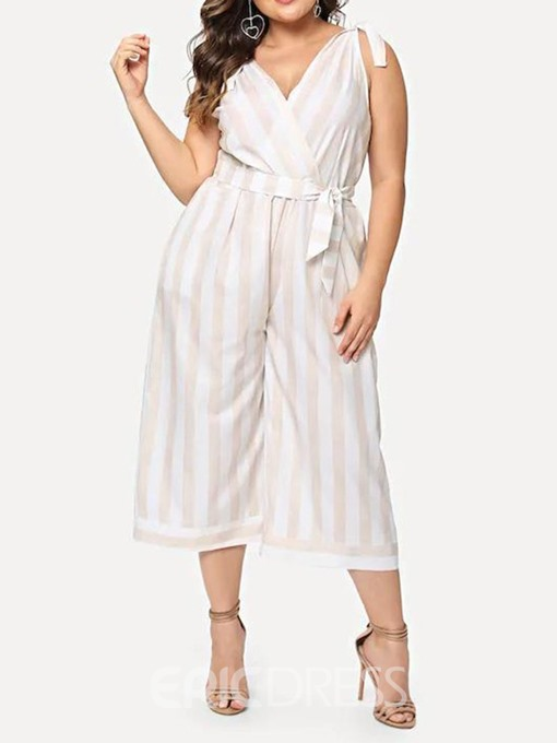 Ericdress Plus Size Stripe Lace-Up High Waist Loose Jumpsuit