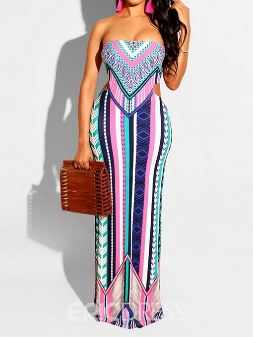 Ericdress Floor-Length Sleeveless Split Pencil Geometric Dress