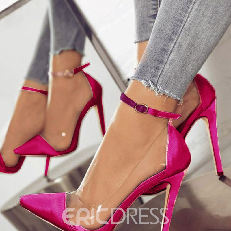 Ericdress PVC Patchwork Stiletto Heel Buckle Pointed Toe Women's Pumps