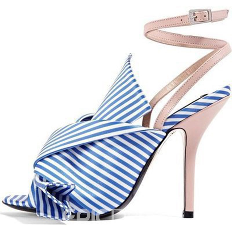 Ericdress Bow Stripe Ankle Strap Stiletto Heel Women's Sandals