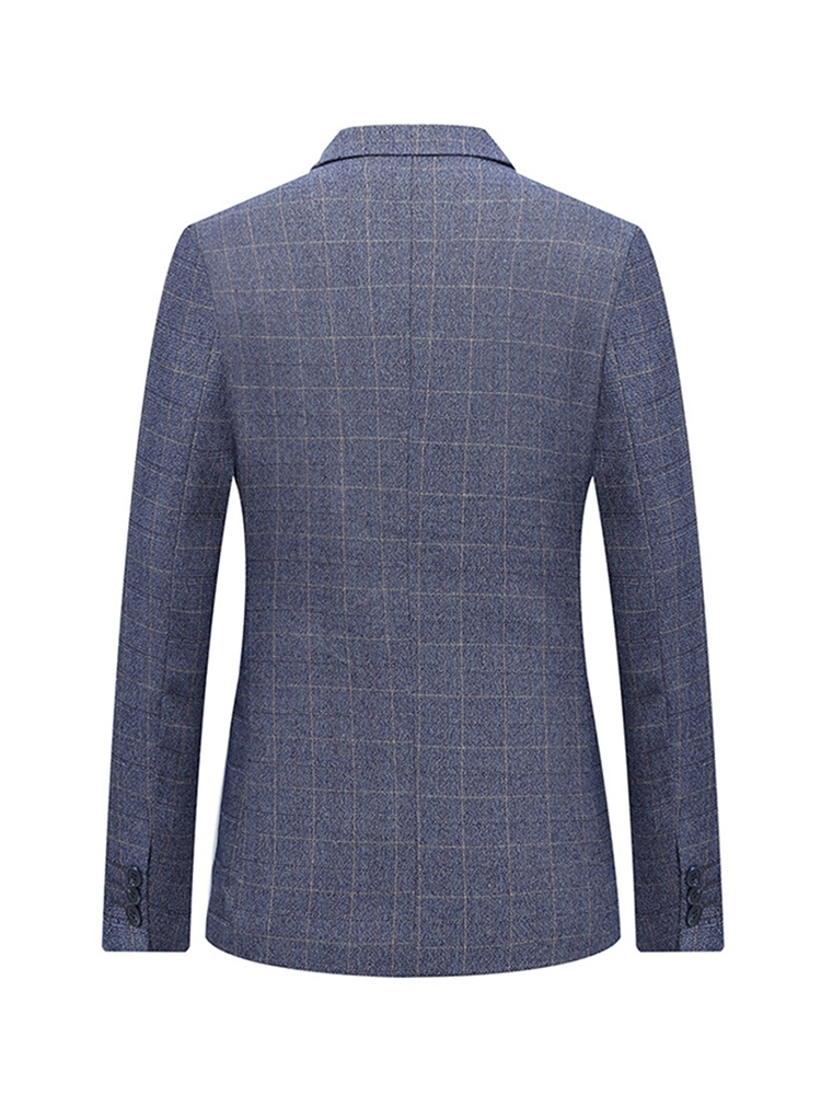 Ericdress Plaid Single-Breasted Slim Notched Lapel Mens Blazer