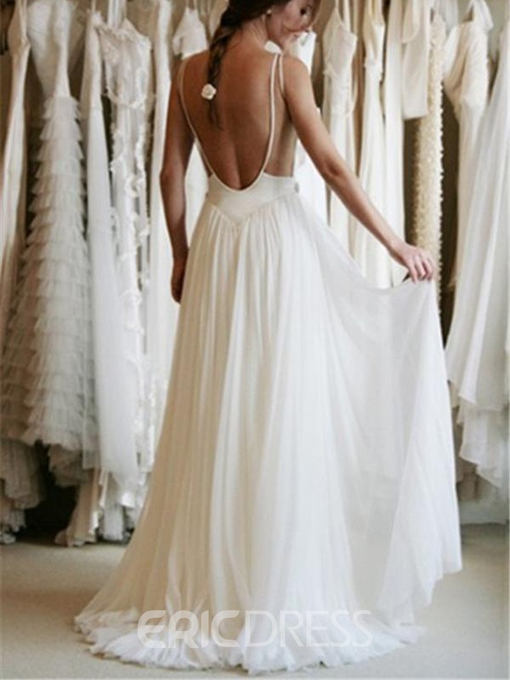 Ericdress Appliques Straps Backless Beach Wedding Dress 2019