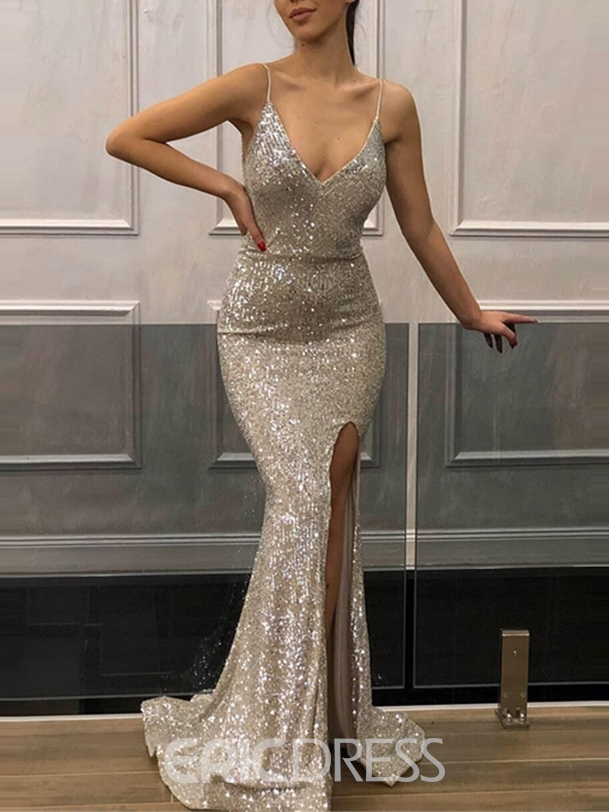 Ericdress Mermaid Spaghetti Straps Sequin Evening Dress 2019