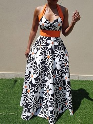 Ericdress African Fashion Floor-Length Sleeveless Halter Expansion Dress