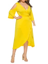 Ericdress Cold Shoulder Mid-Calf V-Neck Plus Size Asymmetrical Dress thumbnail