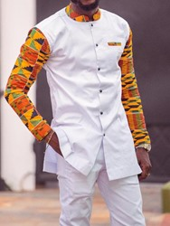 Ericdress Dashiki Patchwork Color Block Mens Casual Outfit