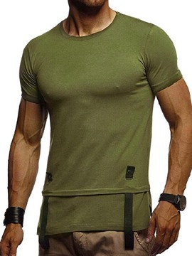Ericdress Plain Round Neck Mens Casual Short Sleeve T-shirt
