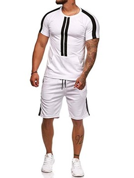 Ericdress Striped Shorts Sleeve Mens Casual Summer Outfit