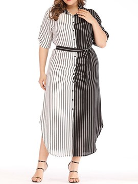 Ericdress Lapel Plus Size Asymmetric Color Block Patchwork Dress