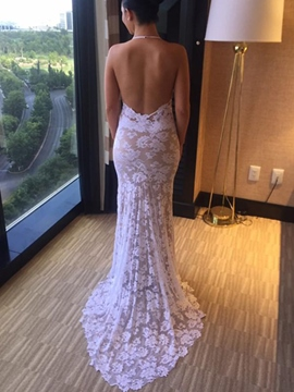 Ericdress Halter Backless Lace Wedding Dress 2019
