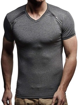 Ericdress Patchwork Plain Zipper Round Neck Mens Short Sleeve T-shirt