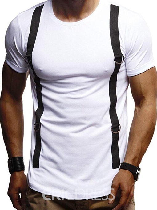 Ericdress Patchwork Round Neck Mens Casual Short Sleeve T-shirt