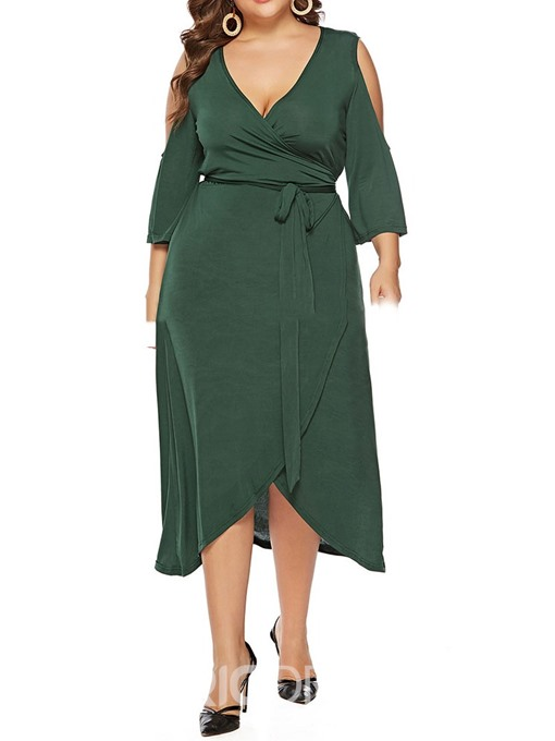 Ericdress Cold Shoulder Mid-Calf V-Neck Plus Size Asymmetrical Dress