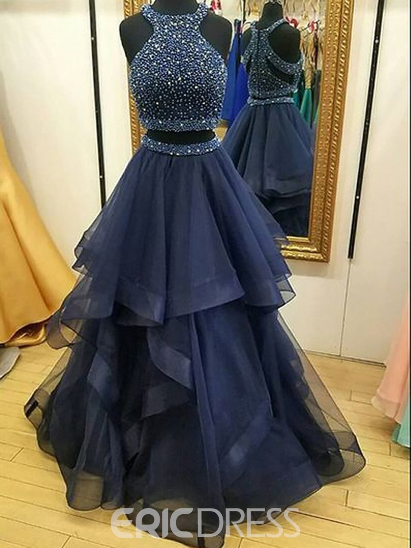 Ericdress Ruffles Scoop Two Pieces Formal Dress 2019 With Beadings