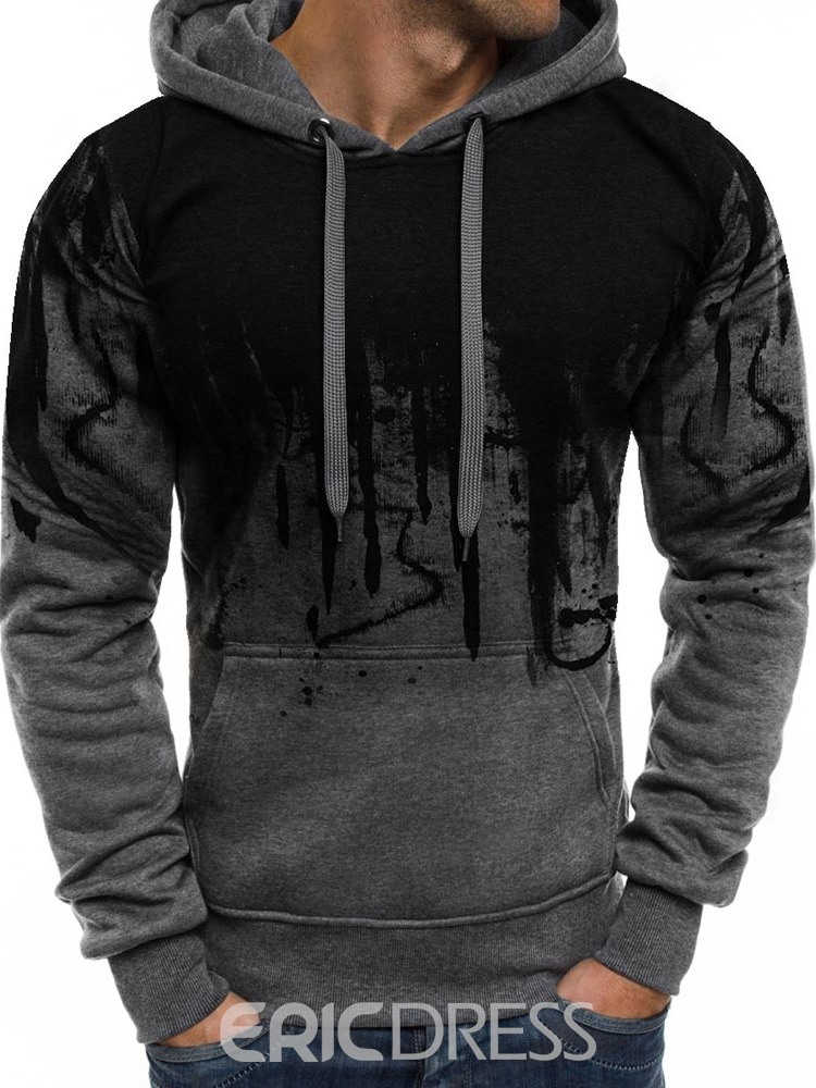 Ericdress Color Block Lace-Up Pullover Mens Casual Hoodies