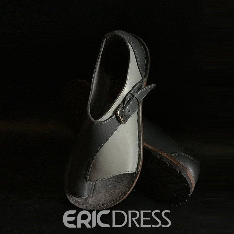 Ericdress Toe Ring Slip-On Color Block Women's Flat Sandals