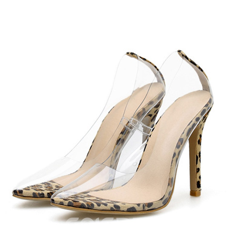 Ericdress PVC Leopard Print Stiletto Heel Pointed Toe Slip-On Women's Pumps