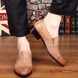 Ericdress Plain Pointed Toe Block Heel Slip-On Men's Dress Shoes