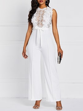 Ericdress Lace Patchwork Sexy Slim High Waist Jumpsuit
