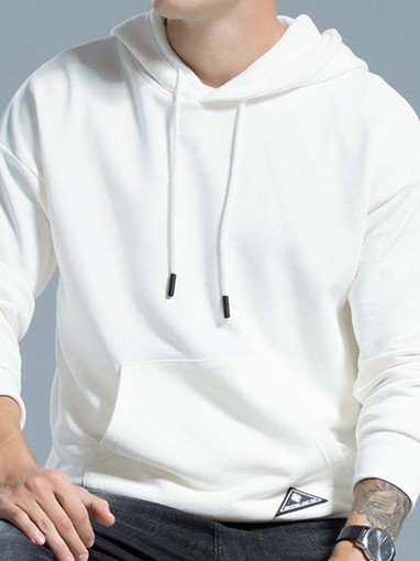 Ericdress Pullover Pocket Plain Men's Loose Hoodies