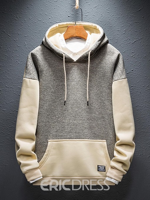 Ericdress Pullover Color Block Pocket Men's Loose Hoodies