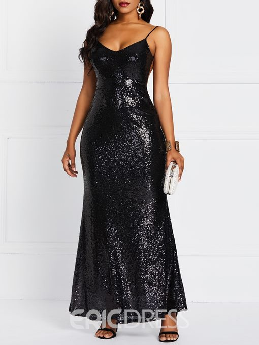 Ericdress Sequins Floor-Length Sleeveless V-Neck Backless Dress