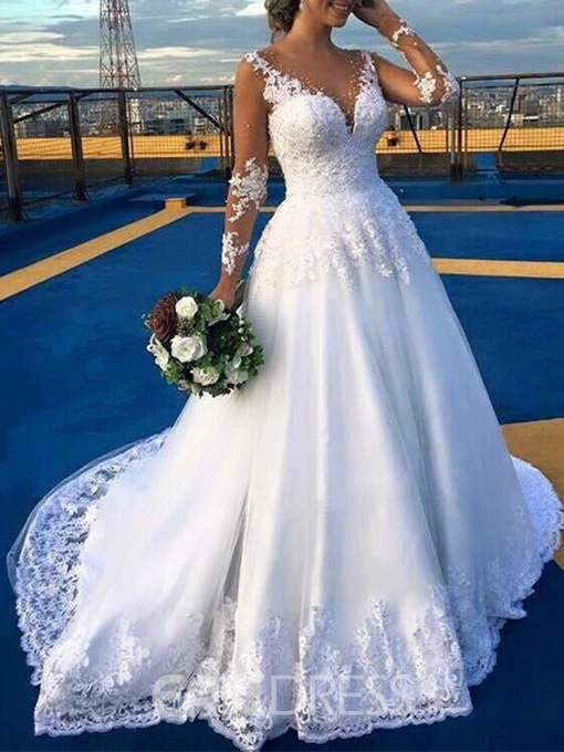Ericdress Long Sleeves Appliques Beading Wedding Dress 2019