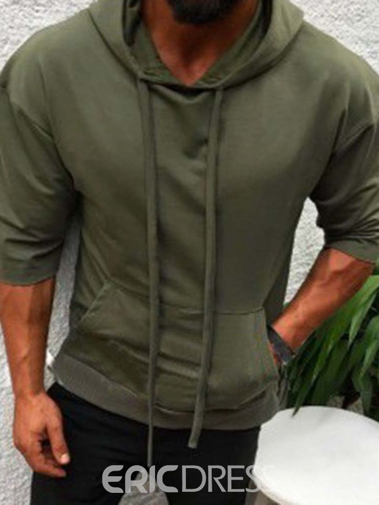 Ericdress Pullover Pocket Plain Hooded Men's Casual Hoodies