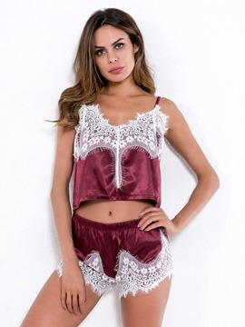 Ericdress Patchwork Color Block Sexy Camisole Short Sets Loungewear