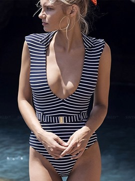 Ericdress Polyester Beach Look Sexy Stripe Swimwear