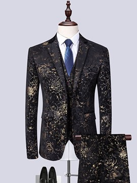 Ericdress Floral Printed 3 Pieces Mens Party Dress Suit