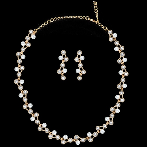 E-Plating Korean Pearls Earrings Jewelry Sets (Wedding)