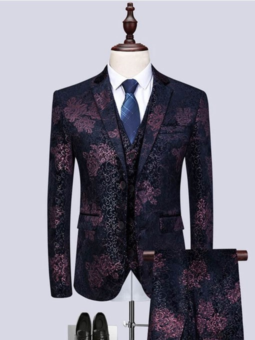 Ericdress Printed Blazer Vest & Pants Mens Casual Party Dress Suit
