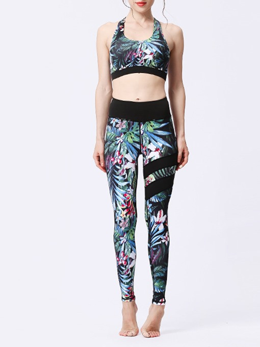 Ericdress Women Print Sleeveless Full Length Yoga Gym Sports Sets