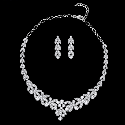 Floral Korean Necklace Earrings Jewelry Sets (Wedding)