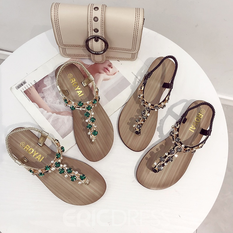 Ericdress Rhinestone Elastic Band Thong Block Heel Women's Flat Sandals