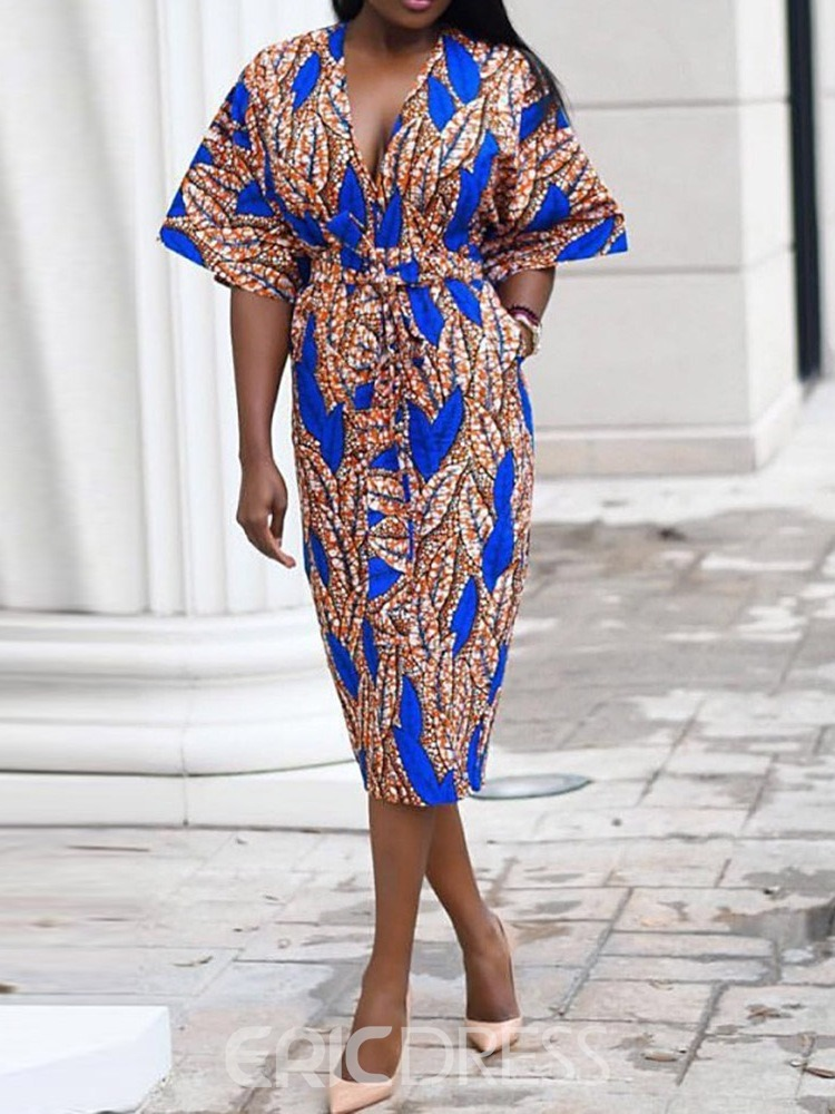 Ericdress African Fashion V-Neck Travel Look Bodycon Dress(Without Waistband)
