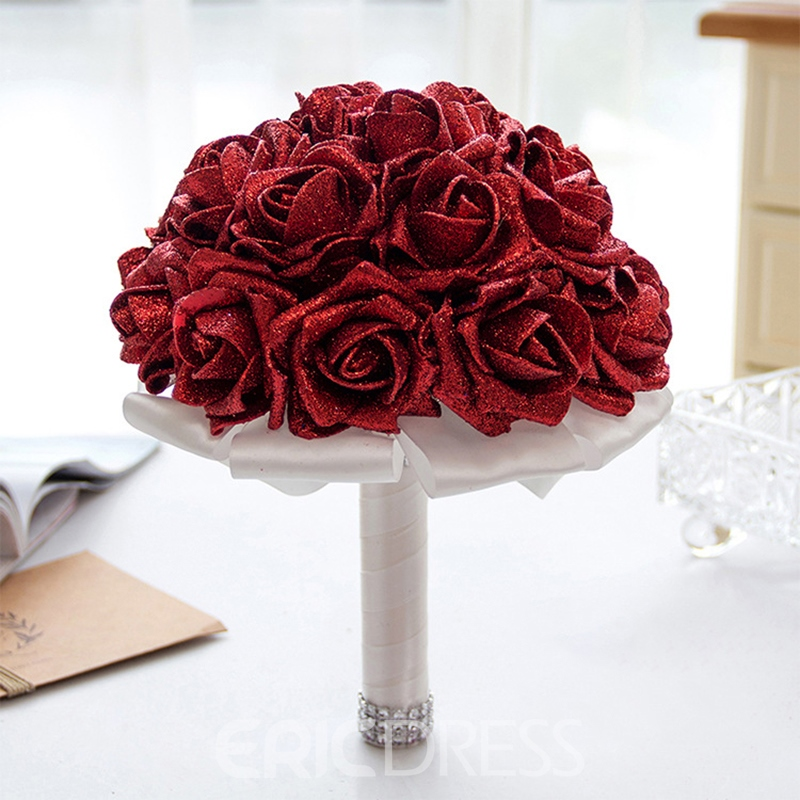 Shiny Rose European Cloth Wedding Decorating Flowers