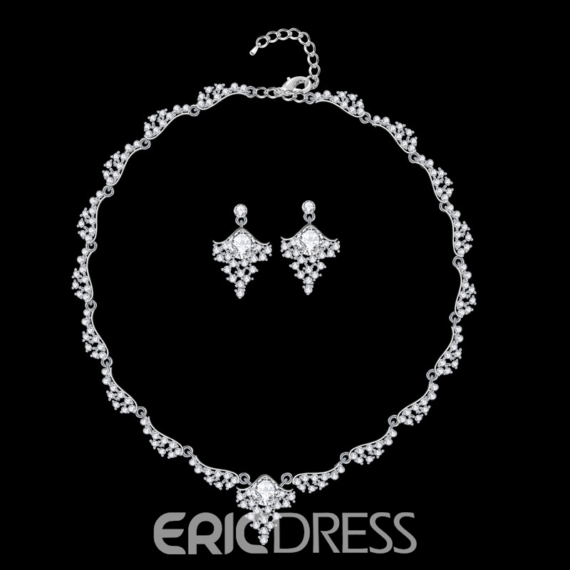 Korean Necklace Earrings E-Plating Jewelry Sets (Wedding)
