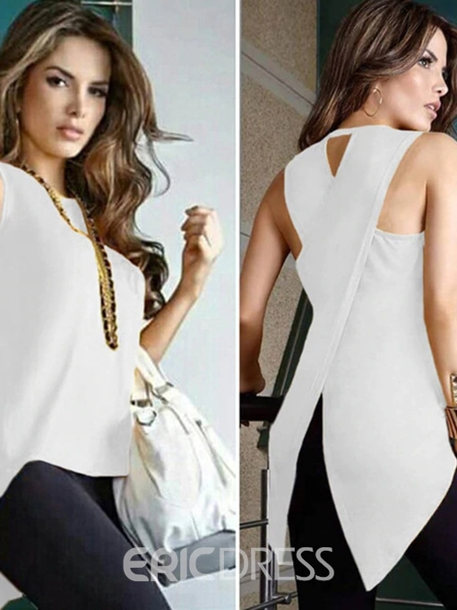 Ericdress Asymmetric Summer Sleeveless Blouse