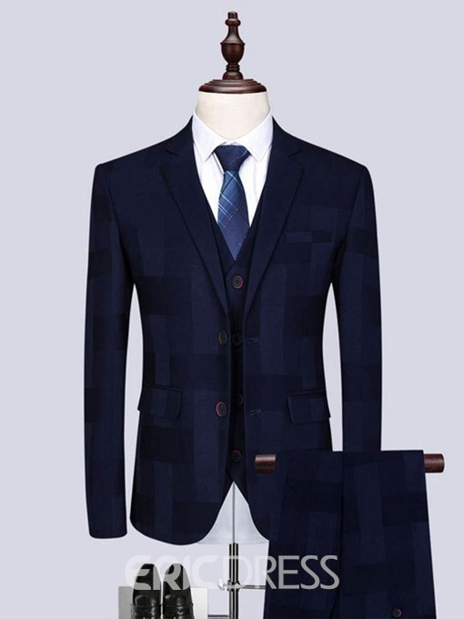 Ericdress Plaid Single-Breasted Blazer Vest & Pants Mens Casual Suit