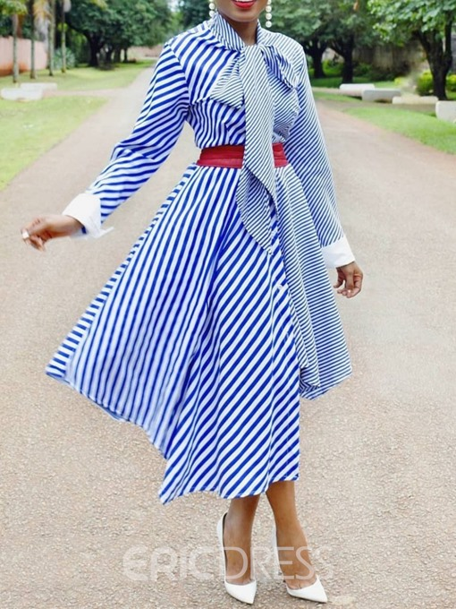 Ericdress Patchwork Mid-Calf Long Sleeve Expansion Pullover Dress