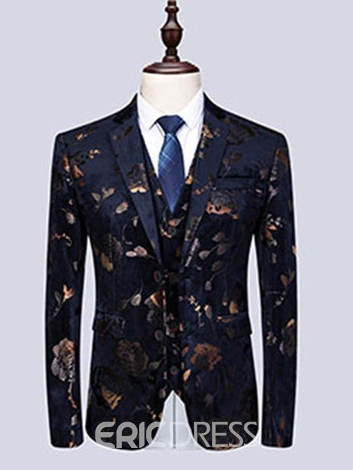 Ericdress Floral Print Mens 3 Pieces Casual Party Dress Suit